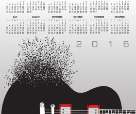 2016 Calendars with music vector design 09