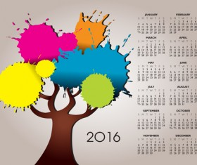 2016 Calendars with watercolor tree vector
