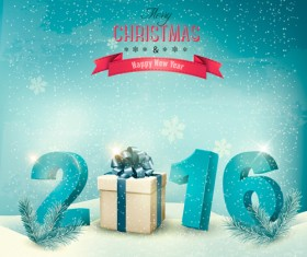 2016 New year design with winter background vector 01