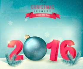 2016 New year design with winter background vector 02