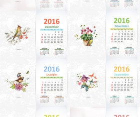 2016 calendar with watercolor painting vector