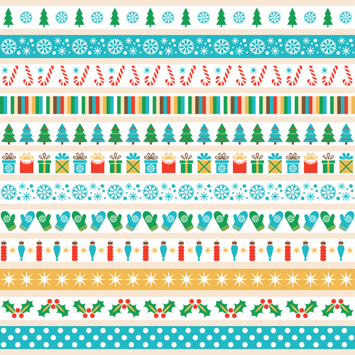 2016 Christmas Borders Seamless Vector 04 Vector