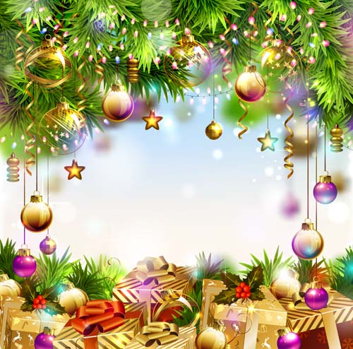 2016 christmas gift with baubles background vector