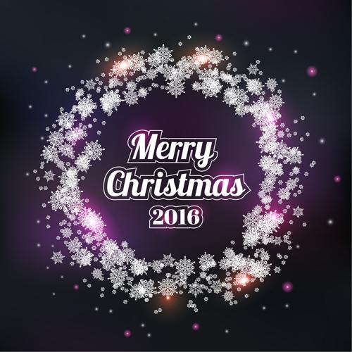2016 christmas snow frame vector