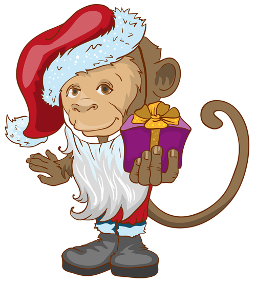 2016 christmas with funny monkey vector 08 - Vector Christmas free ...