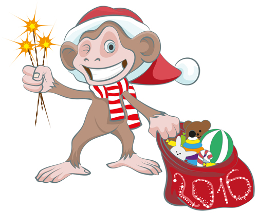 Funny monkey with 2016 new year vectors 05 - Vector Animal, Vector ...