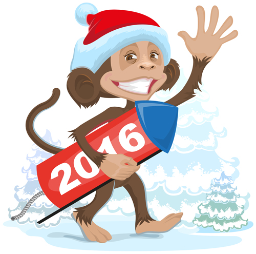 2016 christmas with funny monkey vector 05 - Vector Christmas free ...