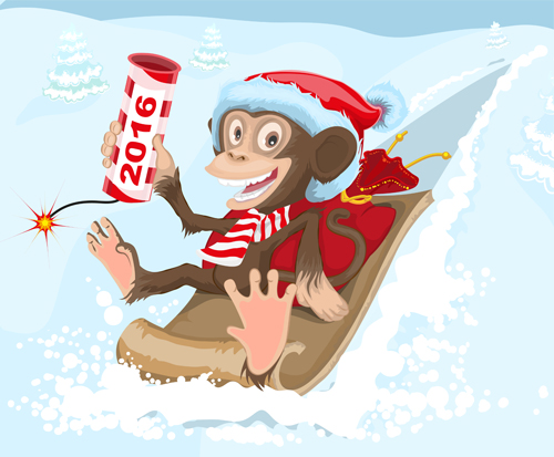 Funny monkey with 2016 new year vectors 06 - Vector Animal, Vector ...