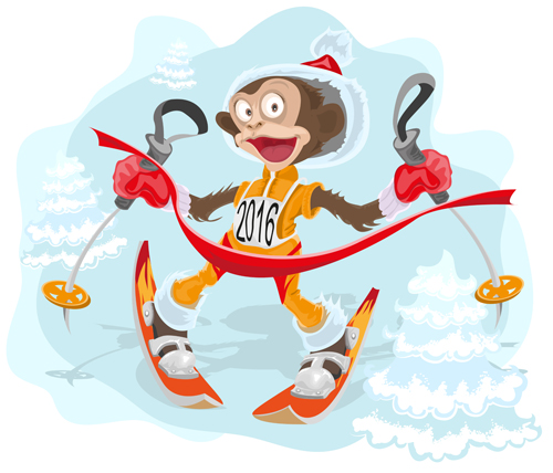 2016 christmas with funny monkey vector 10 - Vector Christmas free ...