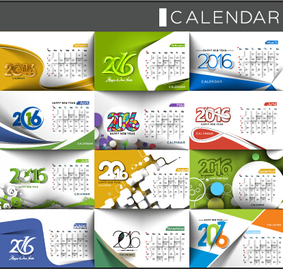 2016 Desk Calendar Template Vectors Set 13 Free Download
