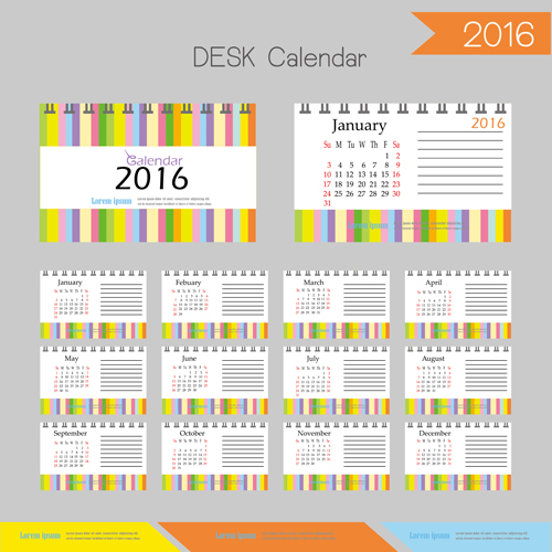 Table Calendar 2016 : Desk calendar template vectors set vector