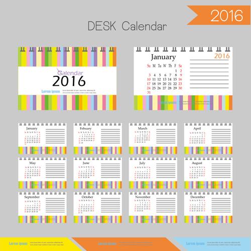 2016 desk calendar template vectors set 14 free download