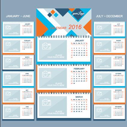 2016 Desk Calendar Template Vectors Set 15 Free Download
