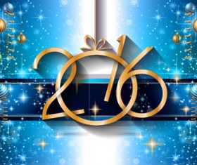 2016 new year background with colored christmas ball vector