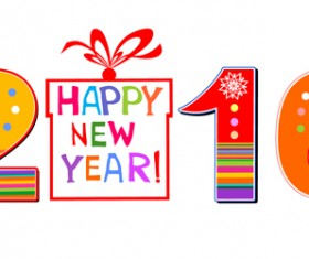 2016 new year design colored vector