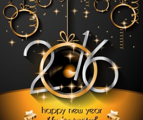 2016 new year labels background with golden ornaments vector