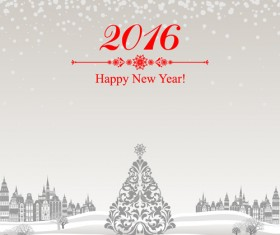 2016 new year with christmas tree winter background vector 01