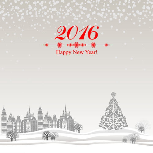 2016 new year with christmas tree winter background vector 02