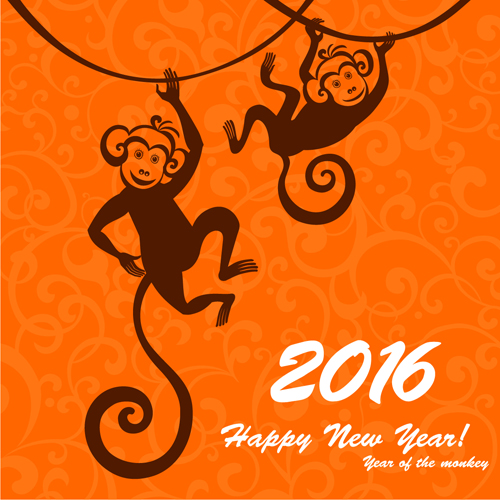 2016 the monkey new year design vector 04