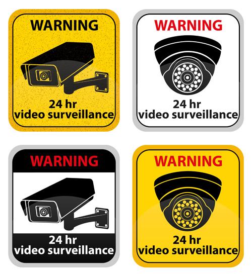 24hr video surveillance warning sign vector