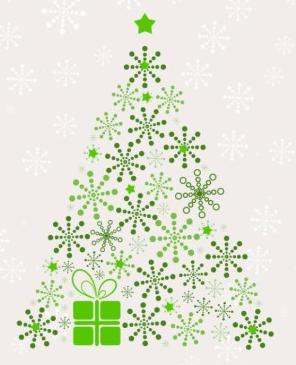 Snowflake Christmas Tree Vectors Material