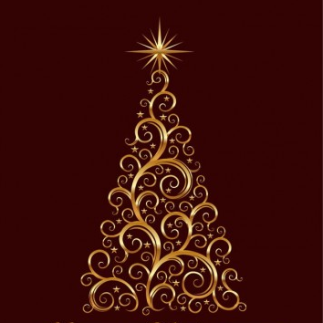 Golden Floral Christmas Tree Vector Graphic