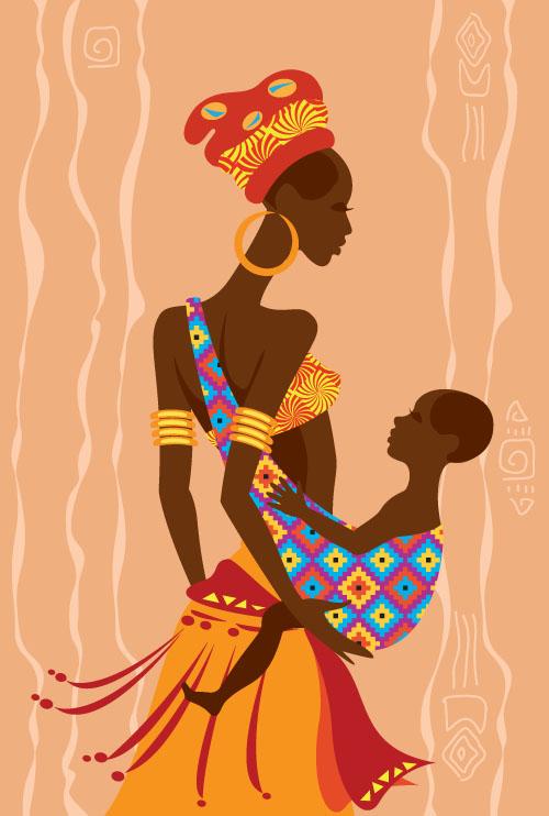African Woman Illustrtion Vector Material 07 Vector