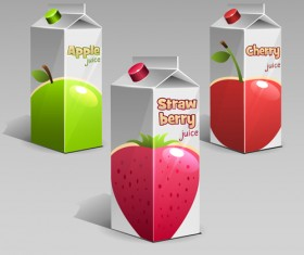 Apple with cherry and strawberry juice packaging vector