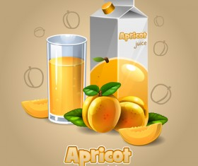 Apricot juice with cup vector