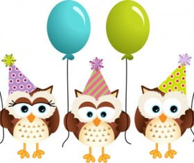 Birthday owls with ballons cards vector 02