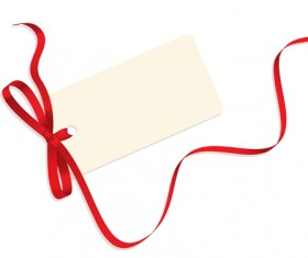 Blank tags with colored ribbon vector 04