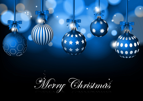 Blue Christmas Background With Baubles Vector Vector