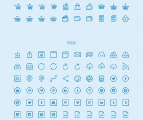 Blue outlines icons collection