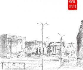 Blurs city street hand drawn vector 06