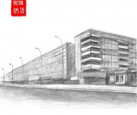 Blurs city street hand drawn vector 07