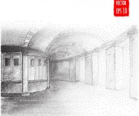 Blurs city street hand drawn vector 12