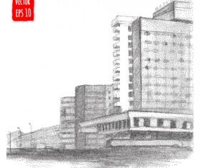 Blurs city street hand drawn vector 13