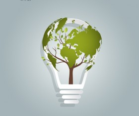 Bulb with Eco business illustration vector 01