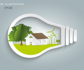 Bulb with Eco business illustration vector 02