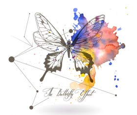 Butterfly with watercolor grunge vector