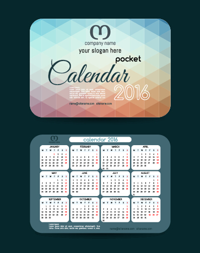 Calendar 2016 With Business Cards Vector 01 Free Download
