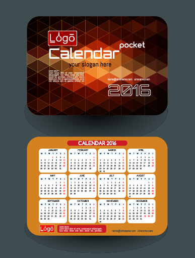 Calendar 2016 with business cards vector 02 vector for Business card calendar