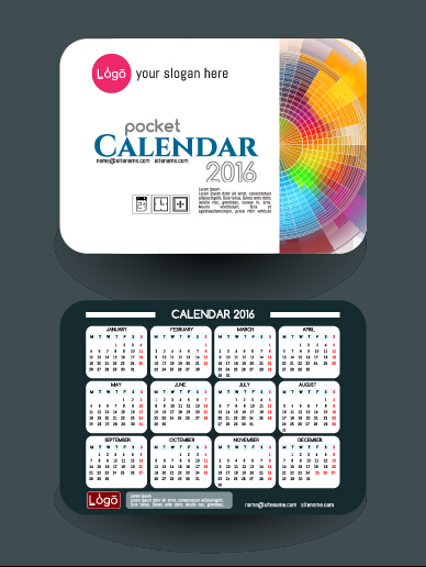 Calendar 2016 With Business Cards Vector 03 Free Download