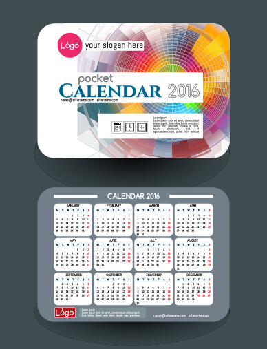 Calendar 2016 With Business Cards Vector 05 Free Download