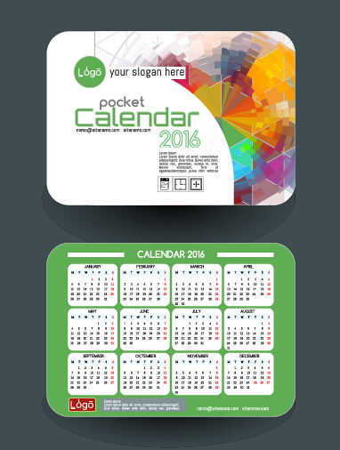 Calendar 2016 with business cards vector 06 - Vector Business ...