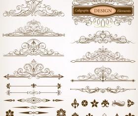 Calligraphic design elements vectors set 02