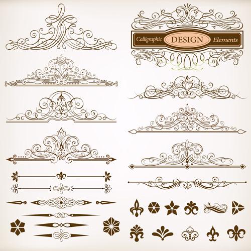 Calligraphic design elements vectors set vector