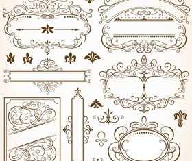 Calligraphic frames and design elements vector