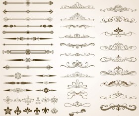 Calligraphic frames and rorders elements vector set