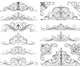 Calligraphic frames and scroll elements vector